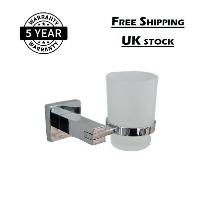 Cup Mounted Bathroom Accessory Chrome Wall Toothbrush Tumbler Holder With Glass • 12.66£