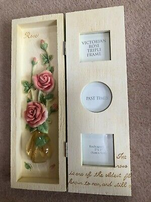 Victorian Rose Triple Picture Frame By Past Times Boxed New • 7.95£