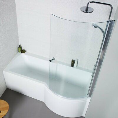 Shower Bath Right Hand P Shaped Only 1500mm White Acrylic Bath Space Saving • 187.49£