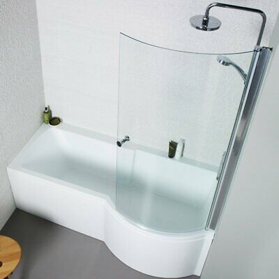 £187.49 • Buy Shower Bath Right Hand P Shaped Only 1500mm White Acrylic Bath Space Saving