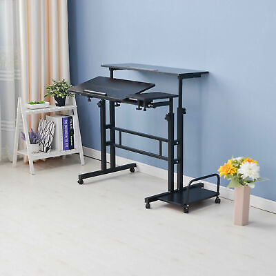AU68.99 • Buy Mobile Rolling Stand-Up Computer Desk Workstation Height Adjustable Office Table