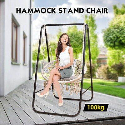 Hanging Hammock Indoor Outdoor Swing Cotton Rope Chair Patio Iron Black   • 45.99£