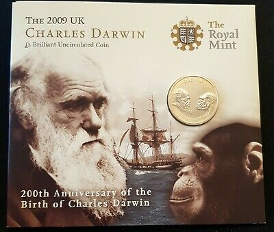 £41.99 • Buy 2009 Charles Darwin Brilliant Uncirculated £2 Pounds In Royal Mint Folder