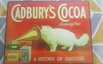 £5.99 • Buy Cadbury's Cocoa Cat With Gramphone Metal Sign