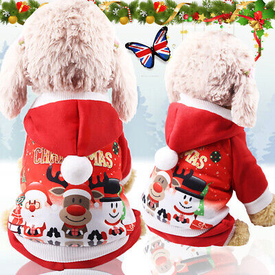 Christmas Puppy Dog Jumper Outfit Pet Reindeer Costume Hoodie Clothes Coat Gifts • 4.49£