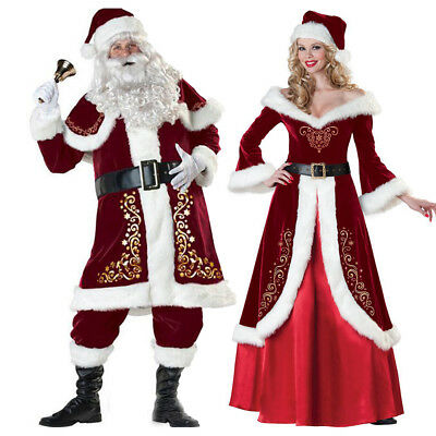 New Christmas Santa Claus Cosplay Adult Costume Fancy Dress Party Suit Outfit • 29.58£