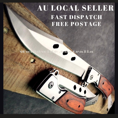 AU32.99 • Buy Brown Handle Knife Outdoor Survival Camping Pocket Hunting Knife Fixed Blade AU