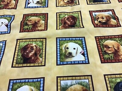 100% Cotton Fabric With Labrador Puppies • 14£