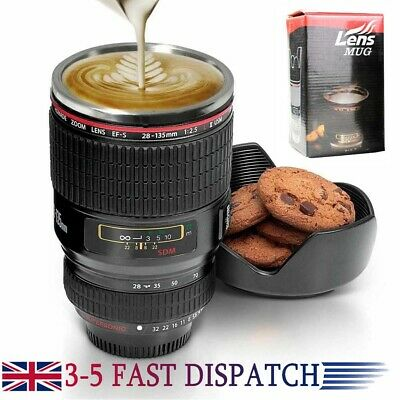 IDEAL GIFT Camera Lens Coffee Tea Mug With Stainless Steel Thermos 400ml UK • 10.36£