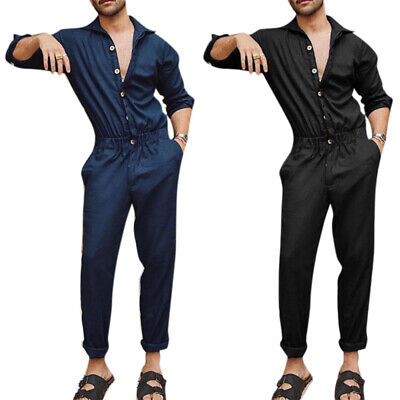 $28.97 • Buy Men's Cargo Button Jumpsuit Long Sleeve Casual Workwear Trousers Romper Playsuit