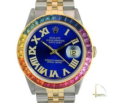 $ CDN5930.47 • Buy Rolex Datejust Watch 18KY & SS Blue Diamond Roman Rainbow Bezel Jubilee 36mm