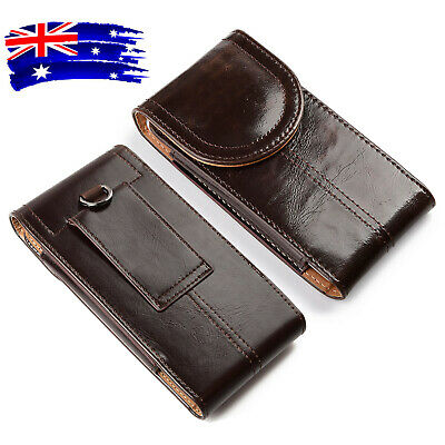 AU17.99 • Buy Brown Vertical PU Leather Belt Clip Loop Holster Cell Phone Pouch Case Cover AU