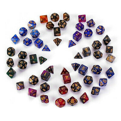 AU5.44 • Buy 7X Starry Polyhedral Dice For Dungeons Dragons DND RPG D20 D12 D10 D8 Game Party