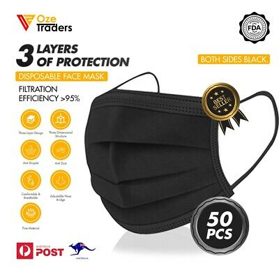 AU21.99 • Buy Black Blue DISPOSABLE FACE MASK 3LAYER PROTECTIVE NON-SURGICAL CE CERTIFIED