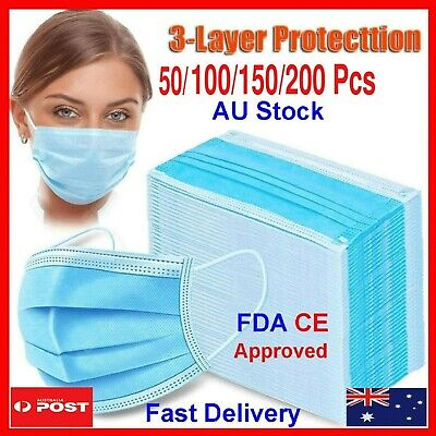 AU39.99 • Buy BLUE Black DISPOSABLE FACE MASK 3LAYER  NON-SURGICAL CE CERTIFIED 99%PROTECTION