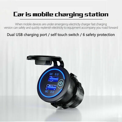 AU15.94 • Buy 12V/24V Fast Car Charger Socket Outlet QC 3.0 Dual USB Port For Car Truck Boat