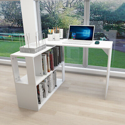 Corner L-Shape Rotating Computer Desk PC Table With Shelf Home Office Study Desk • 59.90£