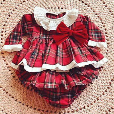 UK Christmas Newborn Baby Girl Plaid Clothes Ruffle Romper Jumpsuit Dress Outfit • 6.99£