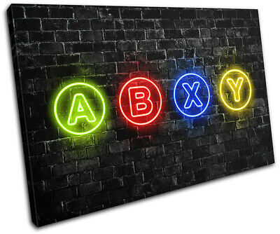 Xbox Series X Gamer Neon Urban Gaming SINGLE CANVAS WALL ART Picture Print • 19.99£