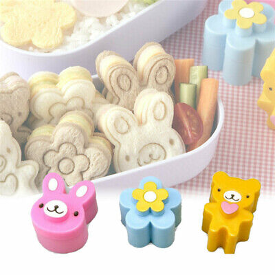 3X Sandwich Crust Cutter Cookie Bread Cake Toast Mold Rabbit Bear Flower  _NEW • 2.89£