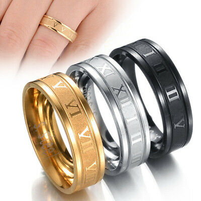 Stainless Steel Roman Numeral Ring Band Punk Women Men Jewelry Gift Size 6-13 UK • 3.89£