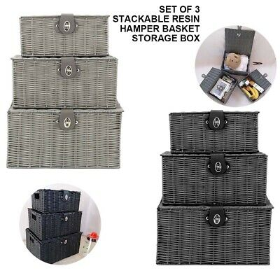 Set Of 3 Resin Woven Wicker Hamper Basket Storage Box With Lid&Lock Gift Xmas  • 17.59£