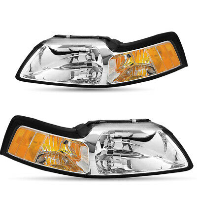 $61.99 • Buy For 99-04 Ford Mustang Chrome Headlights Assembly Amber Corner Lamps Left+Right