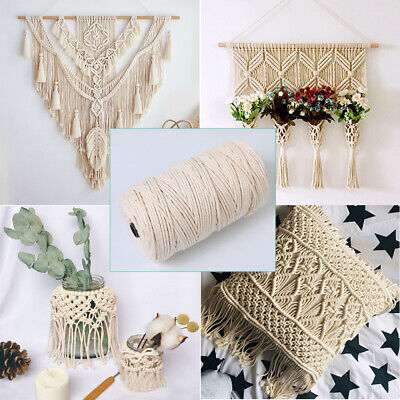 AU9.99 • Buy Macrame Cord 3/4/5/6mm Natural Cotton Rope Twisted Beige Hand Craft Hanger DIY
