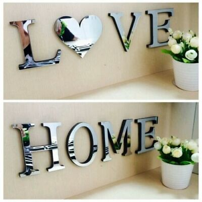 4 Letters Love Home Furniture Mirror Tiles Self-Adhesive Art Decor Wall Sticker  • 3.29£