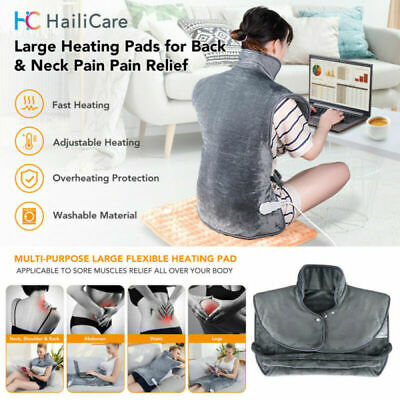 Large Back & Neck Shoulders Heating Pad Electric Heat Therapy Soft Cosy Washable • 29.88£