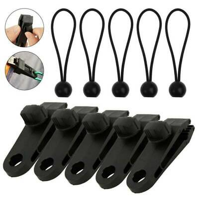 10Pcs Set Tent Tarp Tarpaulin Fasteners Clips Holder Buckle With Bungee Cord New • 6.99£