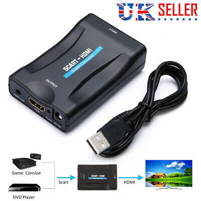 SCART To HDMI Adapter 1080P HD Video Audio Upscale Converter USB Cable TV DVD UK • 7.39£