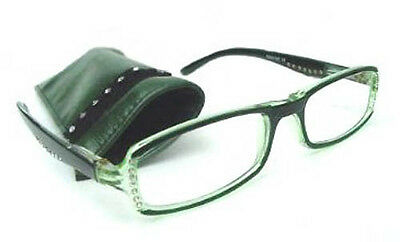 £9.99 • Buy New Reading Glasses Pretty Diamante Studs Sprung Arm Green Readers +1.0