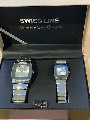 SWISS LINE Numero Uno Couple HIS AND HERS WATCHES In Silver Finish. NEW IN BOX • 23.95£