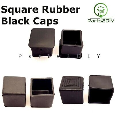 £3.94 • Buy Square Rubber Chair Table Feet Furniture End Cover Caps Anti Slip Skid UK