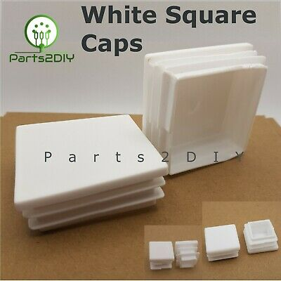 White Square Plastic End Caps Blanking Plugs Tube Pipe Box Section Inserts UK • 3.44£