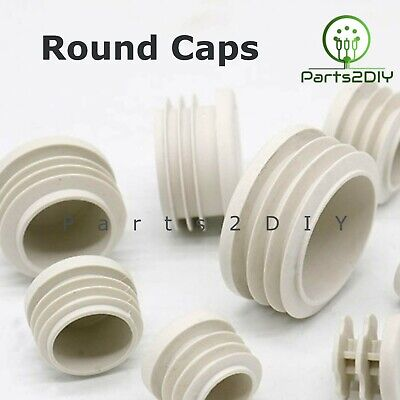 White Round Plastic Blanking End Cap Caps Tube Pipe Inserts Plug Bung Post UK • 1.94£