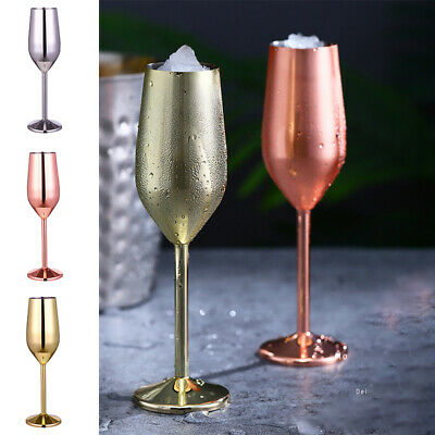 Stainless Steel High Goblet Wine Champagne Glasses Cup Picnics BBQ Parties Home • 11.07£