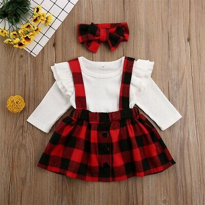 Christmas Newborn Baby Girl Romper Top Strap Dress Headband Plaid Outfit Clothes • 6.69£