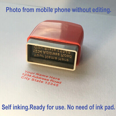 Custom Name Self Inking Stamp Business Personalized Return Address 1 To 3 Lines • 5.99£