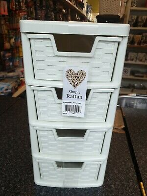 CREAM SIMPLY RATTAN 4 Drawer Mini Tower SIZE HIGH 390CM DEEP 260CM WIDE 200CM • 14.99£