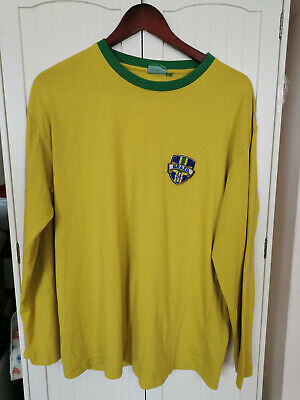 Mens Brazil Football Yellow Shirt No 9 Size 44  Chest Long Sleeve Used • 5.99£