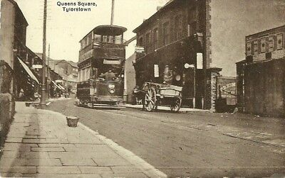£28 • Buy Tylorstown Queens Square Tram Horse & Cart C1910 M Brookes Pontypridd Real Photo