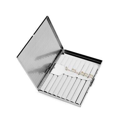 9 Cigarette Case Silver Stainless Steel Metal Slim Box Holder Tobacco Silver SA7 • 7.53£