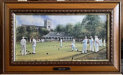Ornate Framed Terry Harrison Textured Print Sunday Bowls Brass Plate Signed • 20£