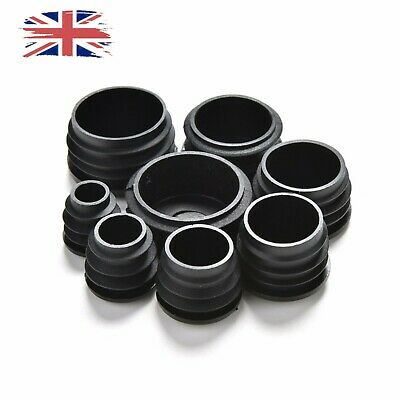 Black Round Plastic Blanking End Cap Caps Tube Pipe Inserts Plug Bung UK Free • 1.94£