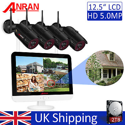 1920P WIFI Wireless Outdoor CCTV Security Home IP Camera System With 12  Monitor • 299.99£