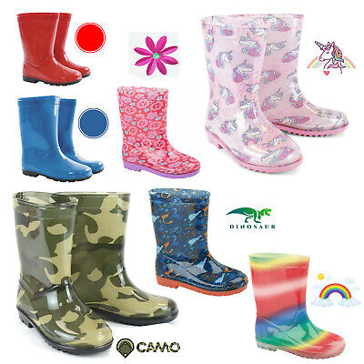Kids Boys Girls Rainbow Wellies Wellington Childrens Rain Snow Boots Size 6-2 • 10.49£