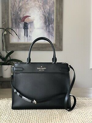 $ CDN168.31 • Buy Kate Spade New York Staci Medium Satchel Shoulder Tote Bag Black Leather
