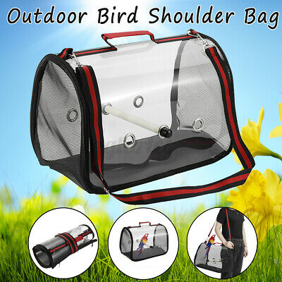 Red Parrot Bird Carrier Backpack Travel Outdoor Transport Cage Breathable Bag • 16.99£